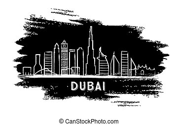 Dubai Skyline Silhouette. Hand Drawn Sketch. Vector Illustration.