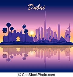 Dubai skyline silhouette on sunset background