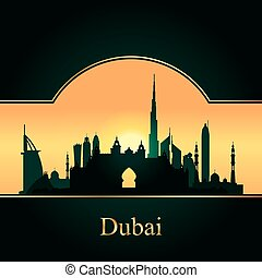 Dubai skyline silhouette on sunset