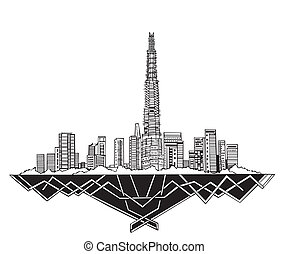 Dubai Skyline (UAE). Black and white vector illustration EPS...
