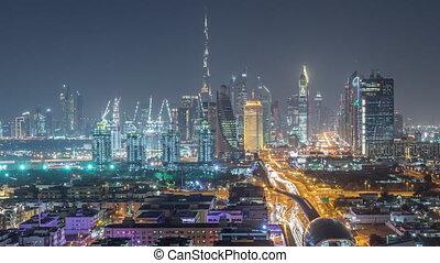 Dubai skyline with beautiful city center lights and Sheikh...