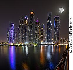Dubai skyscrapers panorama during night hours - Dubai ...