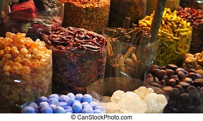 Dubai spice Souk market at night, UAE