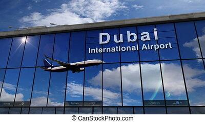 dubai, terminal, odbity, airplane zejście