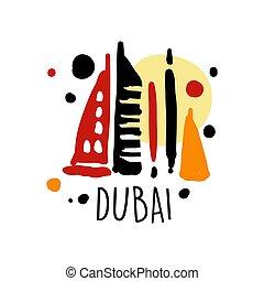 Dubai tourism logo template hand drawn vector Illustration