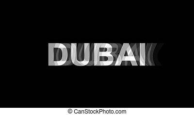 dubai, tv, texte, effet, déformation, glitch, animation, 4k, numérique, boucle