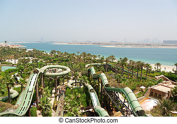 DUBAI, UAE - AUGUST 28: The Aquaventure waterpark of Atlantis the Palm hotel, located on man-made island Palm Jumeirah on August 28, 2009 in Dubai, United Arab Emirates