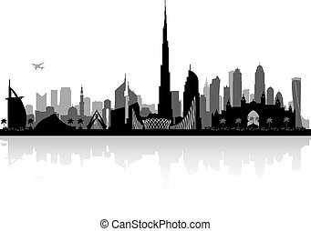 Dubai UAE city skyline silhouette