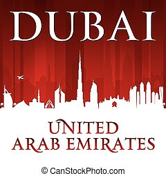 Dubai UAE city skyline silhouette red background