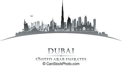 Dubai UAE city skyline silhouette. Vector illustration