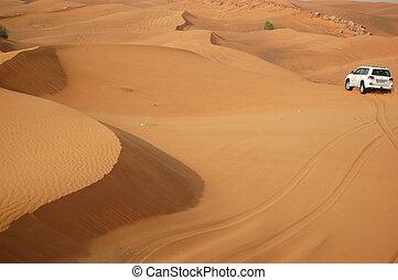 DUBAI, UAE - JUNE 12: The Dubai desert trip in off-road car ...