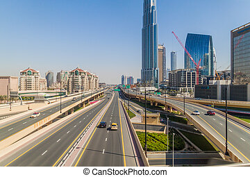 DUBAI, UAE, MARCH 10, 2017: Intersection of Al Safa street and Sheikh Zayed road in Dubai, United Arab Emirates.