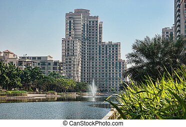 General view of the Dubai Marina district Greens