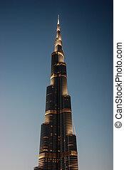 DUBAI, UAE-NOVEMBER 13: Night view of Burj Khalifa - the world's tallest tower at Downtown Burj Dubai on November 13, 2012 in Dubai, UAE