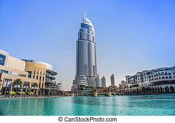 DUBAI, UAE - NOVEMBER 13: The Address Hotel in the downtown Dubai area overlooks the famous dancing fountains, taken on 13 November 2010 in Dubai.