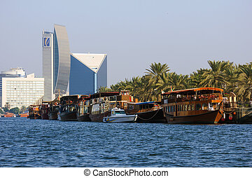 DUBAI, UAE-NOVEMBER 13: Wooden old Arab trading ship on November 13, 2012 in Dubai, UAE. Shipbuilding technology is unchanged from the 18th century.