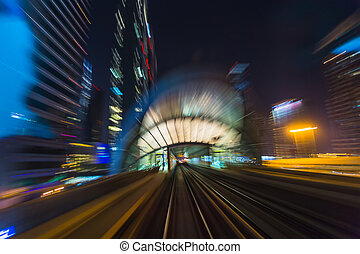 DUBAI, UAE - NOVEMBER 14: Dubai Metro as world's longest...