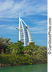 "DUBAI, UAE - NOVEMBER 15: A general view of the world's first seven stars luxury hotel Burj Al Arab ""Tower of the Arabs"", also known as ""Arab Sail"" on November 15, 2012 in Dubai, UAE"