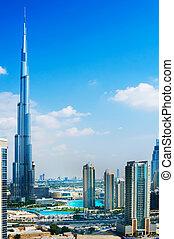 dubai, uae., -, noviembre, 29, :, burj, dubai, -, el más alto, edificio, en, el mundo, en, 828m., en, noviembre, 29, 2011, en, dubai, uae., vista, de, céntrico, dubai