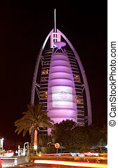 Dubai, UAE - OCTOBER 25: Burj Al Arab, built on an artificial island 280m from Jumeirah beach and classed as one of the most luxurious in the world, on October 25, 2012