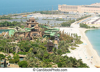 DUBAI, UAE - SEPTEMBER 11: The new Tower of Poseidon - Opening 17 September. It is located in Aquaventure waterpark of Atlantis the Palm hotel on September 11, 2013 in Dubai, UAE.
