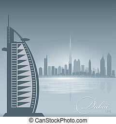 Dubai UAE skyline city silhouette background