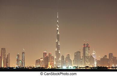 dubai, uni, arabe, horizon, emirats, nuit