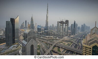 dubai, uni, timelapse, arabe, horizon, emirates., pendant, coucher soleil
