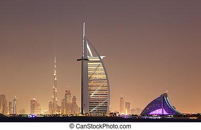 dubai, unido, árabe, contorno, emiratos, noche