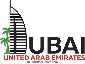 dubai, unido, árabe, emirates., uae., logo.
