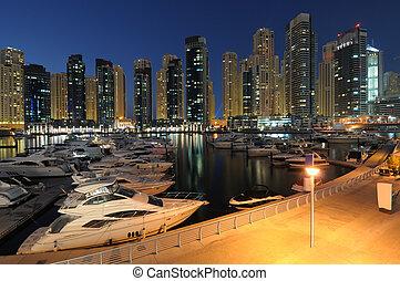 dubai, unido, dusk., árabe, emiratos, puerto deportivo