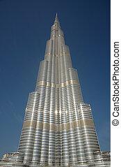 dubai, unido, khalifa, -, burj, árabe, emiratos, rascacielos, supra-sumo, world.