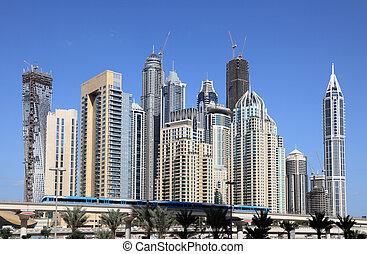dubai, unido, metro, céntrico, árabe, tren, emiratos