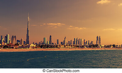Dubai, United Arab Emirates: Downtown in the sunset
