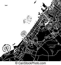 Dubai Vector Map, Artprint. Black Landmass, White Water and...