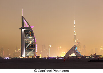 dubai, vereint, araber, skyline, emirate, nacht