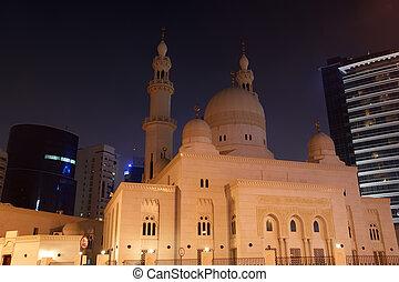 dubai, verenigd, (, moskee, nacht, arabier, emirates), uae