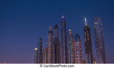 Dubai, view of the building at night (time-lapse)