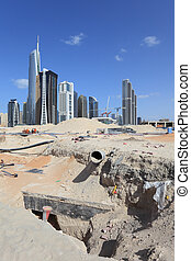 dubai, wieże, jezioro, umiejscawiać, zbudowanie, jumeirah