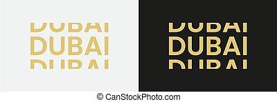 Dubai word text in modern minimal style.