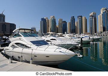 dubai, zjednoczony, jachty, arab, marina., emiraty, luksus