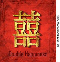 dubbel, chinese karakters, geluk
