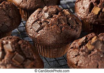 dubbel, chocoladekleurig stukje, muffin