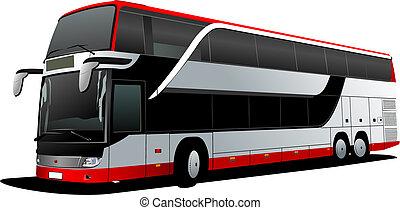 dubbel dek, rood, bus., toerist, coach., vector, illustratie