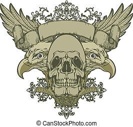 dubbel-geleide, vleugels, schedel