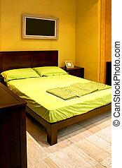 dubbel, grön, säng