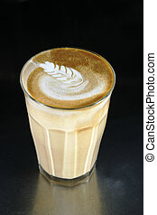 dubbel, latte, met, kunst