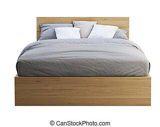 dubbel, render, trä, 3, storage., säng