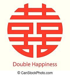 dubbel, symbool, chinees, geluk