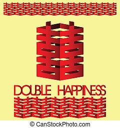 dubbel, weddi, geluk, chinees